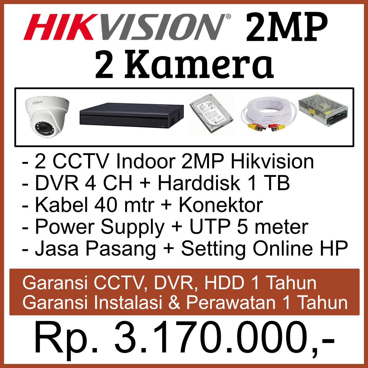 Paket CCTV 2 Kamera Hikvision 2MP